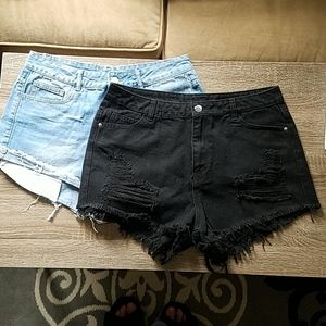 Set of Black and Light Washed Denim Shorts size L